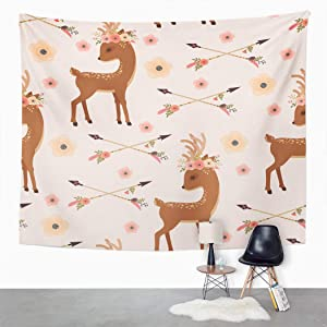 Suklly Tapestry Wall Hanging Elegant Deer Floral Wreath on Head and Crossed Arrows Ethnic Native American Home Decor Polyester Living Bedroom Dorm 60 X 80 Inches Picnic Mat Beach Towel Bed Cover