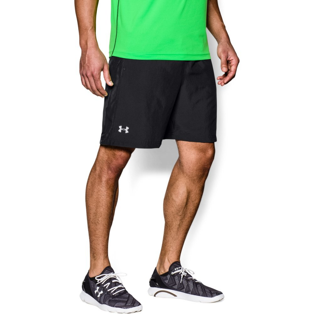 Under Armour Men's Launch Run Woven 7'' Run Shorts, Black /Reflective, Medium by Under Armour (Image #1)