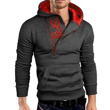 032ead0e1 Zip Hooded Sweatshirt, iHee Mens' Long Sleeve Hoodie Tops Casual Jacket  Coat Outwear (M, Dark Gray): Amazon.co.uk: Baby