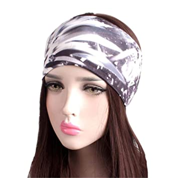 Amazon.com   NEW Women Elastic Turban Headband Sport yoga Headbands Ethnic  Wide Stretch headwrap J   Beauty dd7fad9b5e1