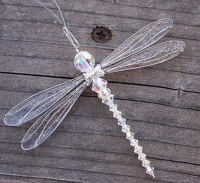 Dragonfly Small Suncatcher Silvery-Winged Mobile with Aurora Borealis Swarovsky Crystal Body