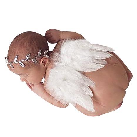Youji bebé recién nacido accesorios de fotografía accesorios blanco ángel plumas alas pluma foto apoyo alas ropa