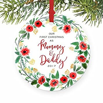 Amazon.com: Our First Christmas as Mommy & Daddy New Parents Floral ...