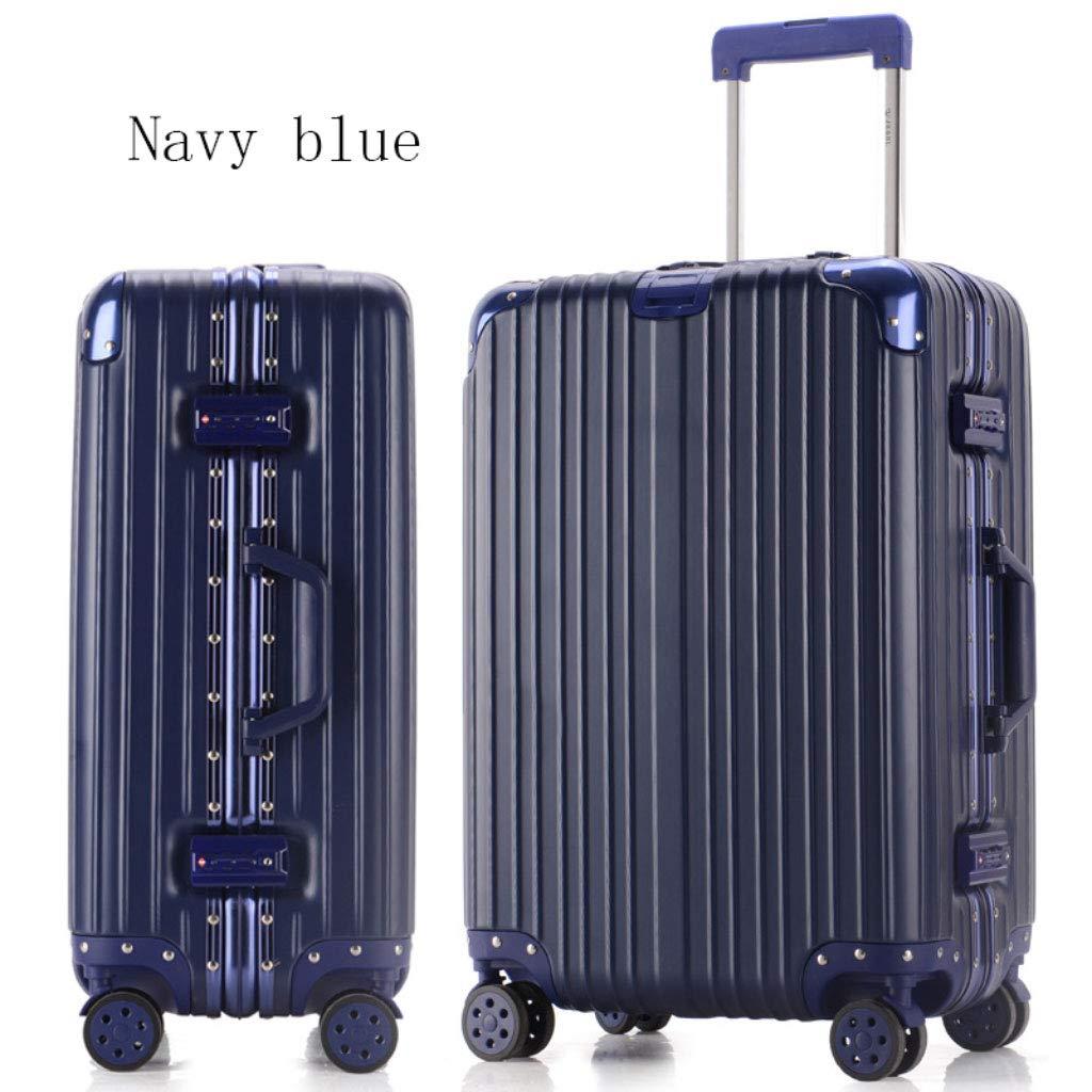 アルミフレームトロリーケーススーツケース24インチの荷物は、20インチの学生のパスワードボックスを搭乗 (Color : Dark blue, Size : 20 inches)   B07R5L6SHZ