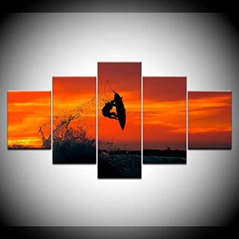 Taobing 5 Lienzo Cuadro Sobre Marcosea Surfing With Sunset
