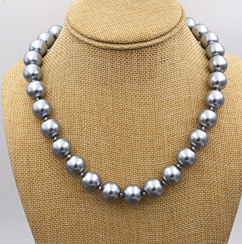 Rare Huge 12mm Genuine Gray Round South Sea Shell Pearl Necklace 18'' AAA