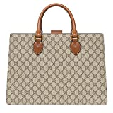Gucci GG Supreme Coated Tote Signature Ebony Cuir Brown Briefcase New
