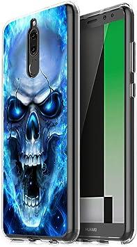 Pnakqil Funda Huawei Mate 10 Lite, Silicona Transparente con Dibujos Diseño Slim Suave TPU Antigolpes Ultrafina de Protector Piel Case Cover Cárcasa Fundas para Huawei Mate 10Lite, Cráneo Azul: Amazon.es: Electrónica
