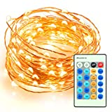 33ft 100 LED String Lights Dimmable with Remote Control, TaoTronics Waterproof Decorative Lights for...
