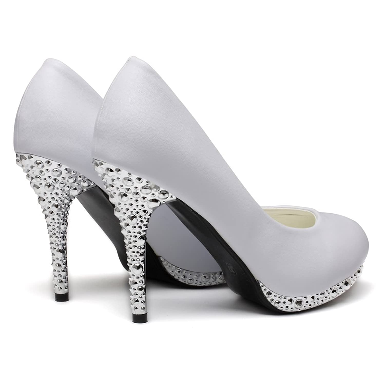 Amazon.com | getmorebeauty Women's Off White Glitter Dress Wedding Shoes  High Heel | Pumps