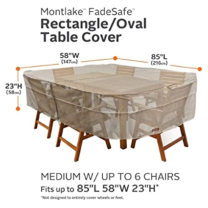 Classic Accessories MONTLAKE FADESAFE Rectangle/Oval Patio Table & Chair Set Cover-Medium