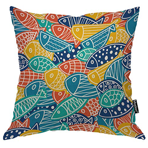 Moslion Fish Pillows Decorative Pillow Case Cute Colorful Sea Fish with Polka Dot Sequin Waves Stripes Pattern Ocean Throw Pillow Cover Square Cushion Accent Cotton Linen Home 18x18 Inch