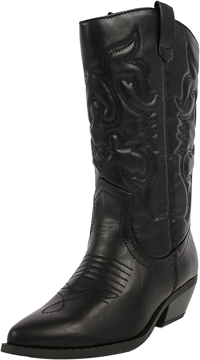 Soda Women's Red Reno Western Cowboy Pointed Toe Knee High Pull On Tabs Boots Black