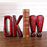LPY-Set of 2 Bookends Resin Exclamation Mark Style Handicrafts, Book Ends for Office or Study Room Home Shelf Decorative