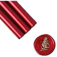 UNIQOOO Mailable Glue Gun Sealing Wax Sticks for Wax Seal Stamp - Metallic Burgundy Wine Red, For Birthday Cards…
