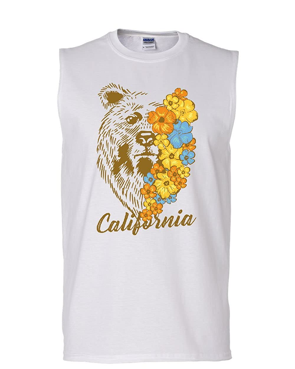 California Bear with Flowers Muscle Shirt Wildlife Grizzly Cali Ca Sleeveless