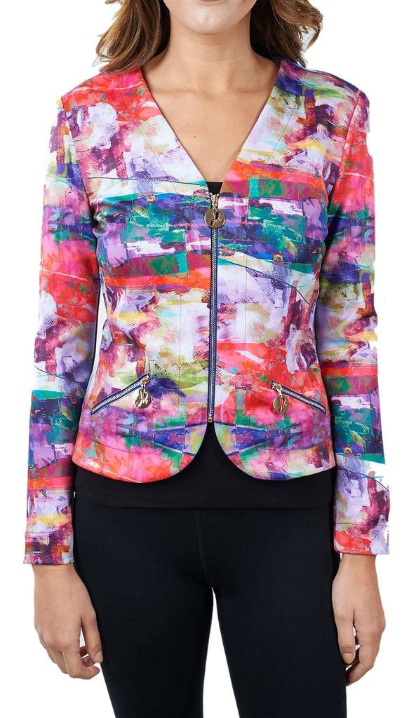 Joseph Ribkoff Multicoloured Pattern Zip V-Neck Coverup Jacket Style 171717 - Size 10 by Joseph Ribkoff