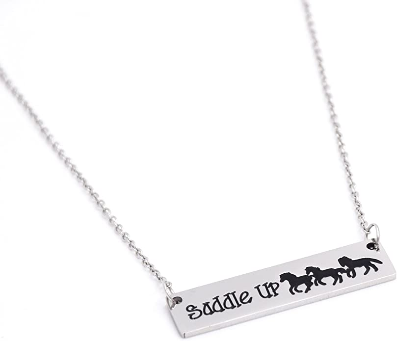 LParkin Saddle Up Horse Necklace Horse Lover Necklaces Stainless Steel Horse Jewelry