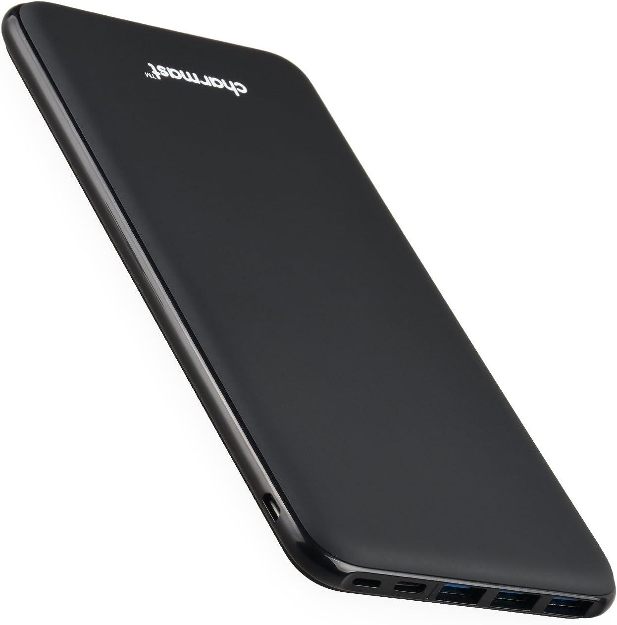 Charmast 26800mAh Powerbank Batería Externa Tipo C Micro USB Slim Cargador Portátil Móvil con 4 Puertos Smart E Salidas y 3 Entradas Compatible con iPhone Huawei Mackbook iPad y Smartphone