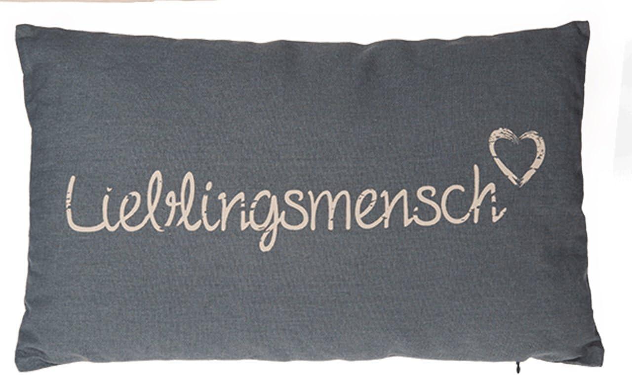 Kamaca HERZENSMENSCH Kissen 30 cm x 50 cm Flauschig gef/ülltes Kissen mit Rei/ßverschluss Bezug aus 100/% Baumwolle EIN Hingucker und wertiges Geschenk HERZENSMENSCH GRAU