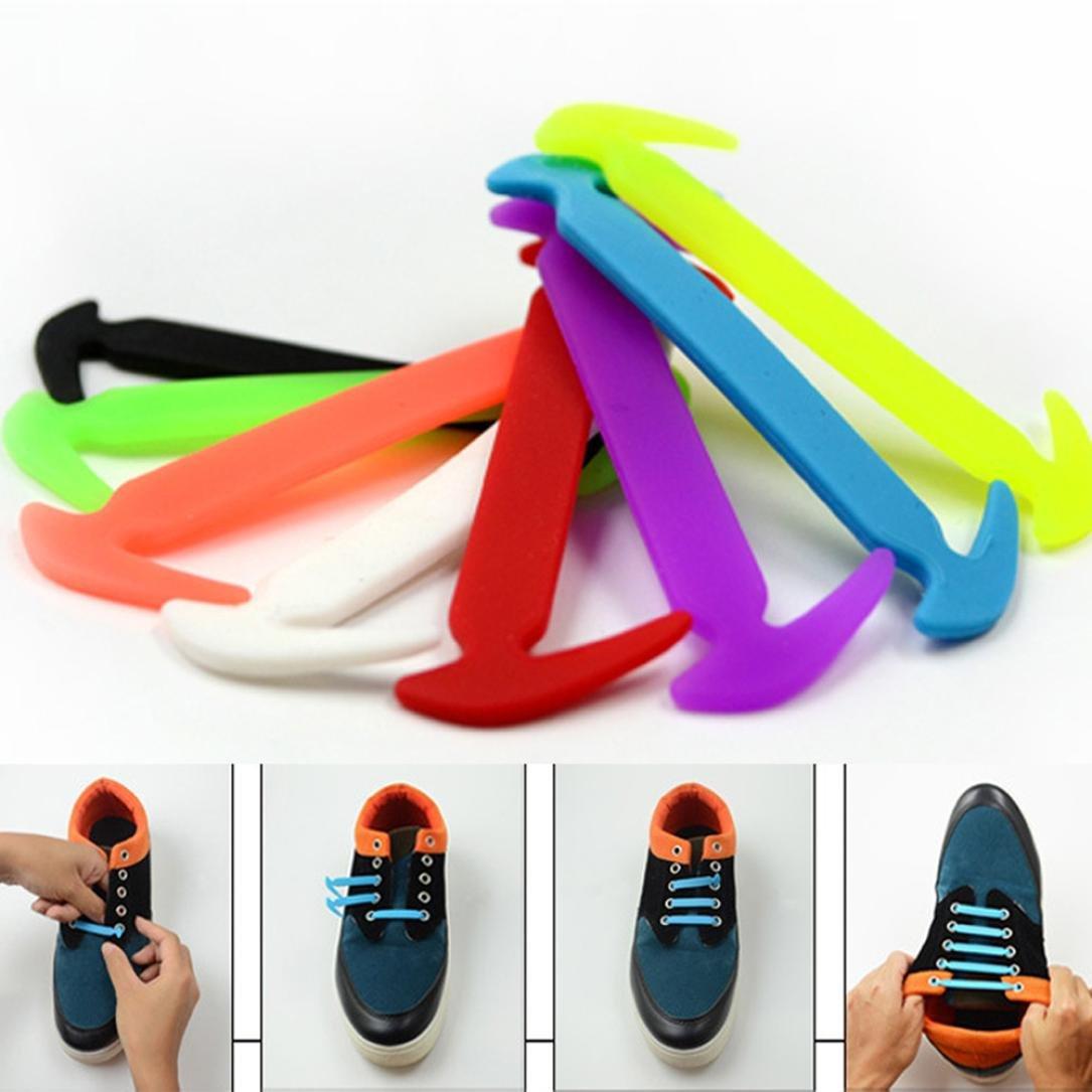 Gotd 12PCs Novelty No Tie Shoelaces Silicone Elastic Sneaker Shoe Laces (Random Color)