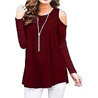 PCEAIIH Women's Long Sleeve Casual Cold Shoulder Tunic Tops Loose Blouse Shirts
