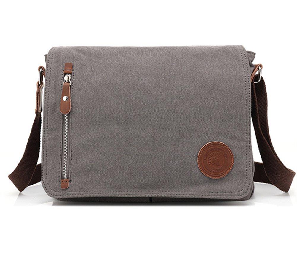 Sechunk Canvas Leather Messenger Bag Shoulder bag Cross body bag Crossbody small for men boy girl student school (grey) by Sechunk