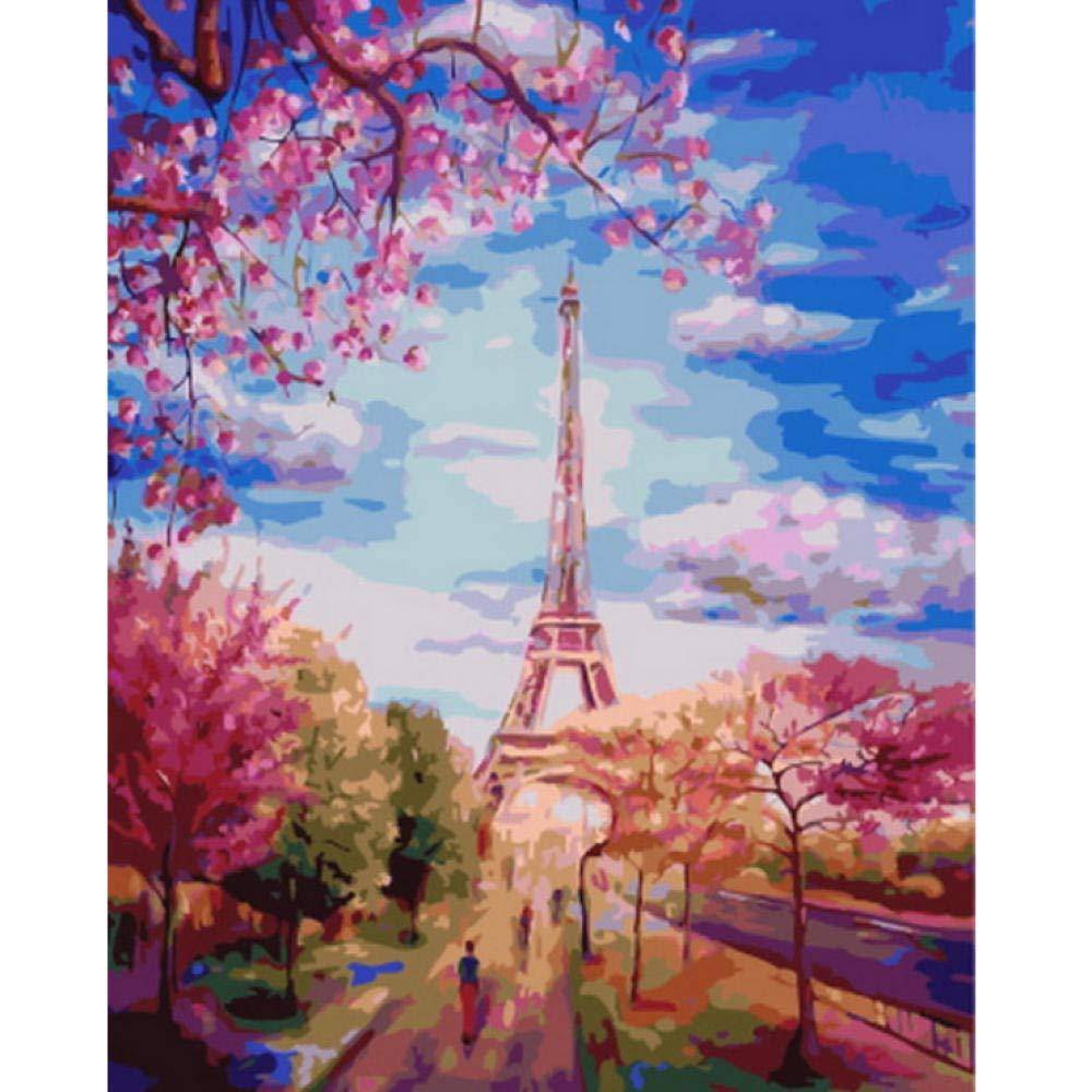 Avec Cadre 60120cm Waofe Tableau Peinture à L'Huile Par Numéros Décoration Murale Bricolage Peinture Sur Toile Pour La Décoration Intérieure  Arbre Rouge Et La Tour- No Frame