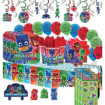 PJ Masks Birthday Party Supply Set for 16 includes Plates, Cups, Napkins, Table Cover, Candle, Swirl Decorations, Balloons, Stickers: Toys & Games