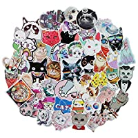 Cool Cute Cat Stickers Pack Cool, 50Pcs Vinyl Waterproof Animal Stickers, for Laptop, Luggage, Car, Skateboard, Motorcycle, Bicycle Decal Graffiti Patches