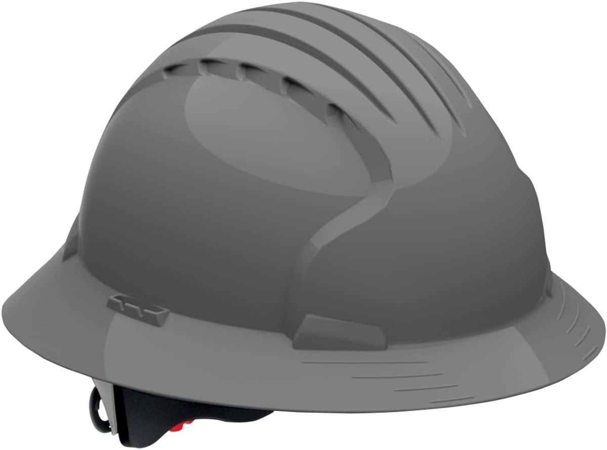 Evolution Deluxe 6161 Full Brim Hard Hat with HDPE Shell, Gray