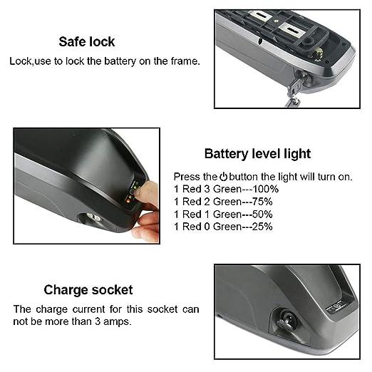 36 V 14,5AH EBike Lithium-Batterie Wiederaufladbare Unterrohrbatterie Elektrische Fahrradbatterie mit Ladeger/ät//BMS f/ür 36 V 200 W-500 W Bafang Tongsheng Motor