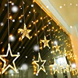 Quntis Led String Lights, Star Curtain Lights Indoor 110V 3M(W) x2M(H) Warm White 12 Stars 138 LEDs Window Icicle Decor Lighting for Home Garden Holiday Wedding Christmas Party Backdrops