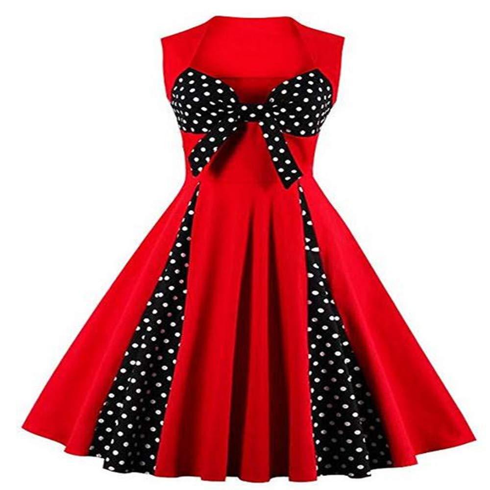Briskorry Damen Kleid Retro Rockabilly Faltenrock Polka Dots Petticoat Cap Sleeves Prinzessin Kleid A-Line Abendkleider Elegante Partykleid
