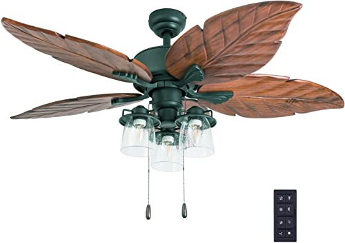 Prominence Home 50783-01 Caspian Sea Tropical Ceiling Fan 3 Speed Remote