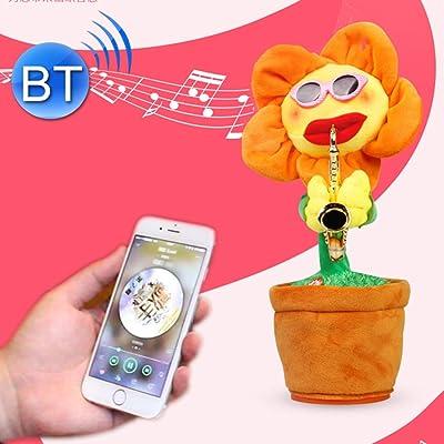 Cqu Juguetes electrónicos, Girasol, Estilo saxofón, Juguete de Felpa con Bluetooth para niños y Adultos para cumpleaños con luz, soporta Carga USB y batería: Electrónica