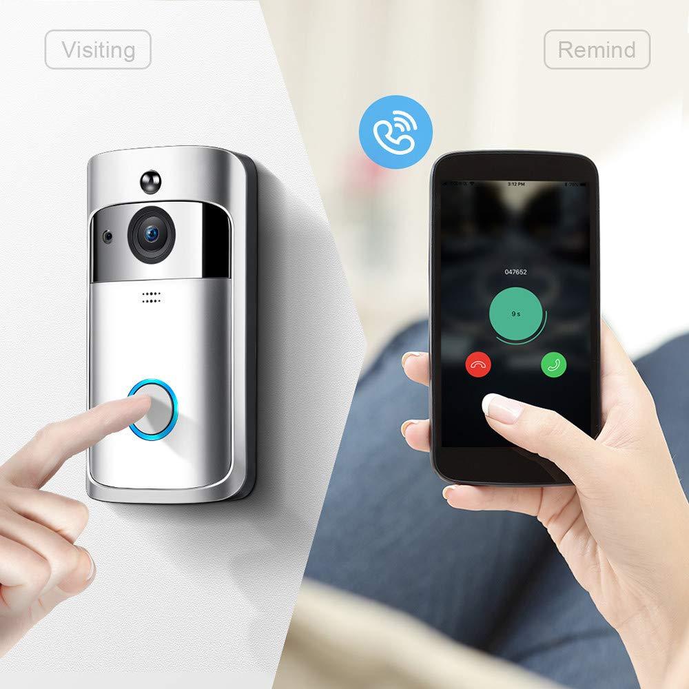 ExpediTech Video-T/ürklingel WiFi Kamera Low Power 720P HD Video Zwei-Wege-Gespr/äch unterst/ützt Android und iOS Video Nachtsicht /& PIR-Bewegungserkennung silber