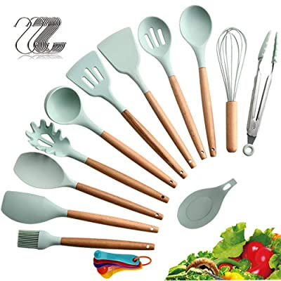 Buy Me Fan Silicone Cooking Kitchen Utensils Set 12pcs Bamboo Wooden Handles Cooking Tool Bpa Free Non Toxic Silicone Turner Tongs Spatula Spoon Kitchen Gadgets Utensil Set For Cookware Pastel Green Online In