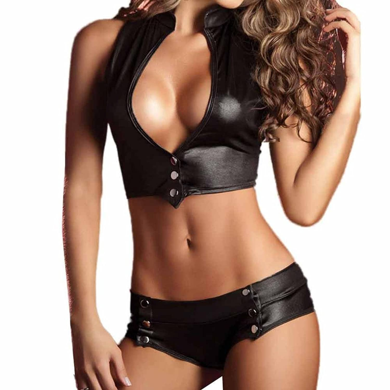 ac4437952 Top3  DongDong Sexy Leather Underwear Women 2 Piece Set Sexy Bandage  Clubwear Stripper