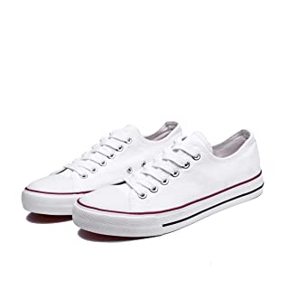 Womens Canvas Sneakers Low Top Lace Up Canvas Shoes Fashion Comfortable (White,US8)