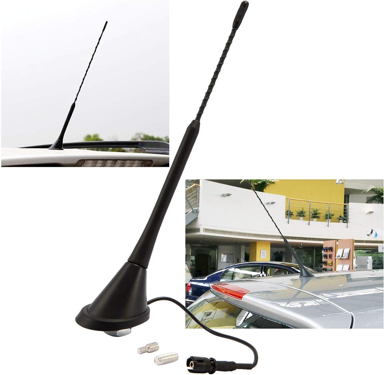 SurePromise Ariel Mástil de radio de coche con base de antena de 9 pulgadas AM/FM tipo varilla antiruido Ariel Kit de repuesto para MK4 MK5 MK6
