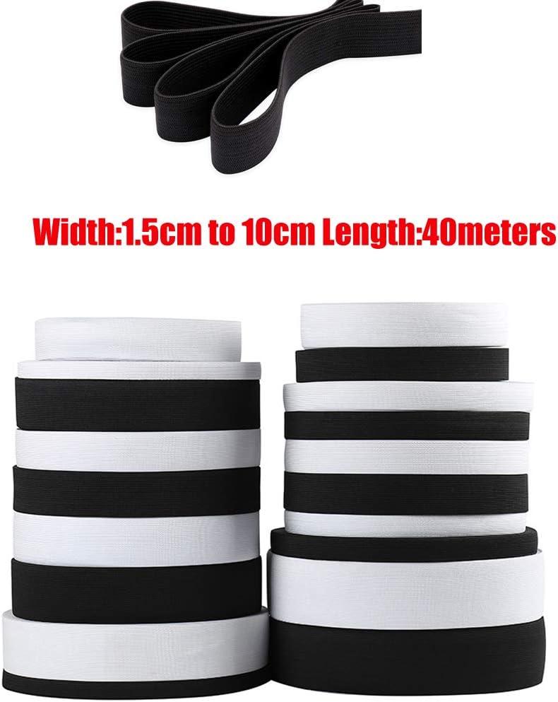 1.5CM x 40Meters blanco 40 m Cinta el/ástica para costura