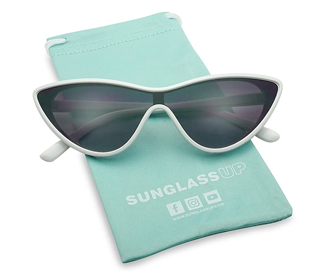 068a4f892e Amazon.com: SunglassUP - Retro Shield Single Lens Triangle Cat Eye Goggle  Sunglasses (Glossy Black Fame | Gradient Black): Clothing