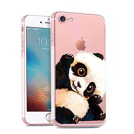 newest decc5 391f9 iPhone 6 6s Case,[Color Printed] Cute Panda Series Soft TPU Silicone  Protective Skin Ultra Slim & Clear with Unique Painted Design Gift Bumper  Back ...