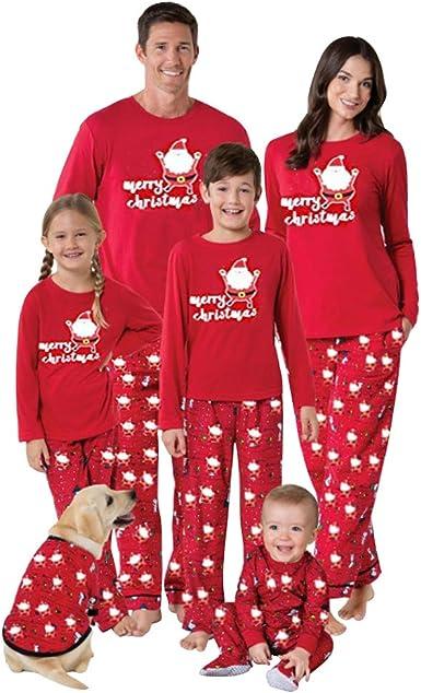 URMOSTIN Pijamas de Navidad Dos Piezas Pijamas Familiares, Conjunto de Ropa de Dormir de Algodón Merry Christmas Manga Larga Camiseta Tops y ...