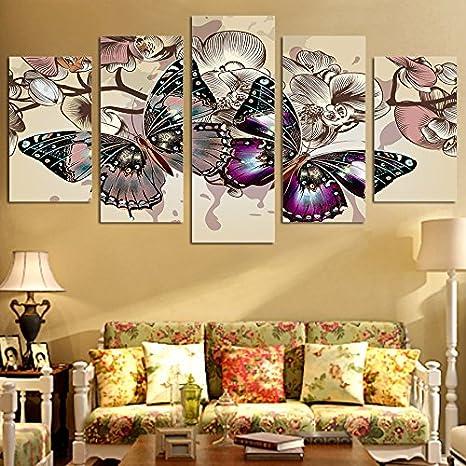 PUHAHA 5 Paneles Arte de Pared de Lona Hermosa Flor Mariposa 150x90cm HD Al Óleo Carteles Cuadros Impresiones Pared Moderna Impresa Pintura Creatividad Modular Decoración del Hogar