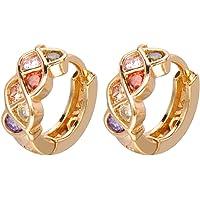 ShineDew Pendientes de aro de circonio cúbico Multicolor Plateado Oro de 18 k para Mujer aretes