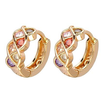 34e5bf3d2de5 ShineDew Pendientes de aro de circonio cúbico Multicolor Plateado Oro de 18  k para Mujer aretes