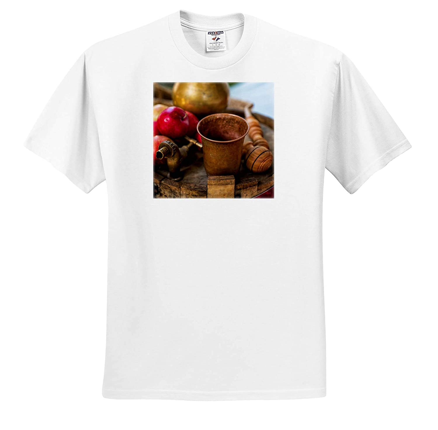 T-Shirts 3dRose Alexis Photography Copper Bowl red Apples on an Empty Wine Barrel Still-Life Smoking Pipe