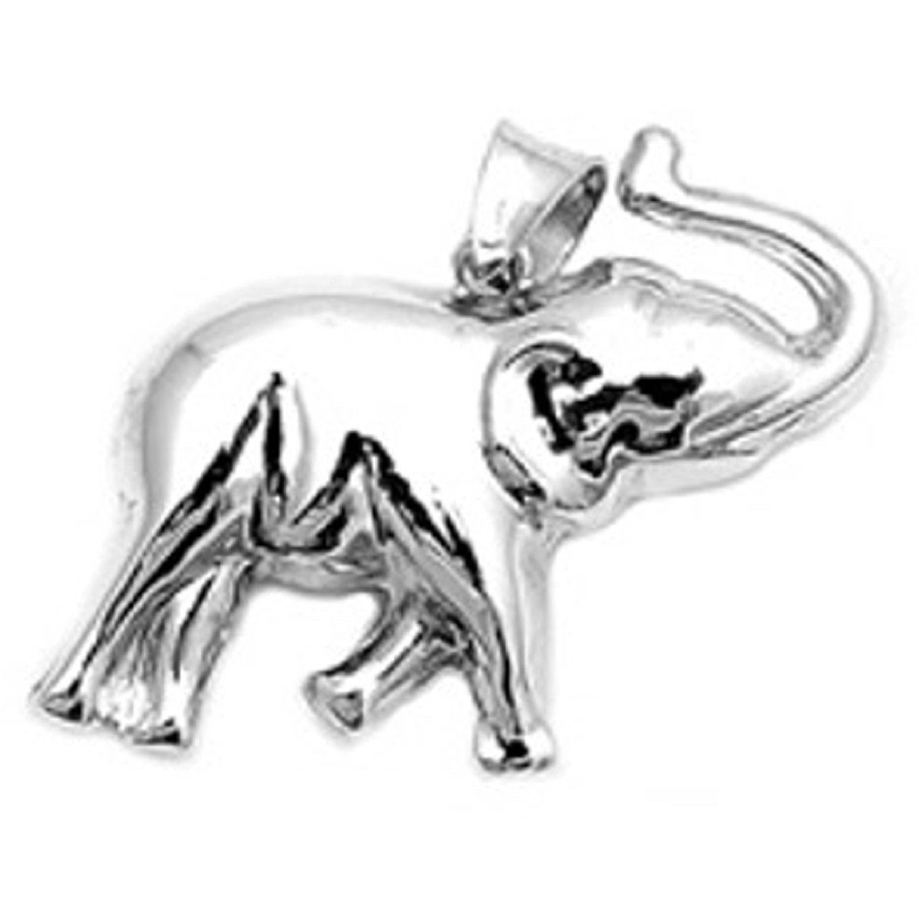 Sterling Silver Large Elephant 3D Two Sided Pendant